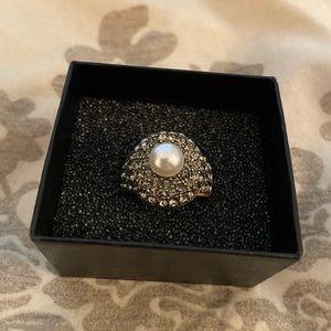 Heidi Daus Gemstone-encrusted and Pearl Ring